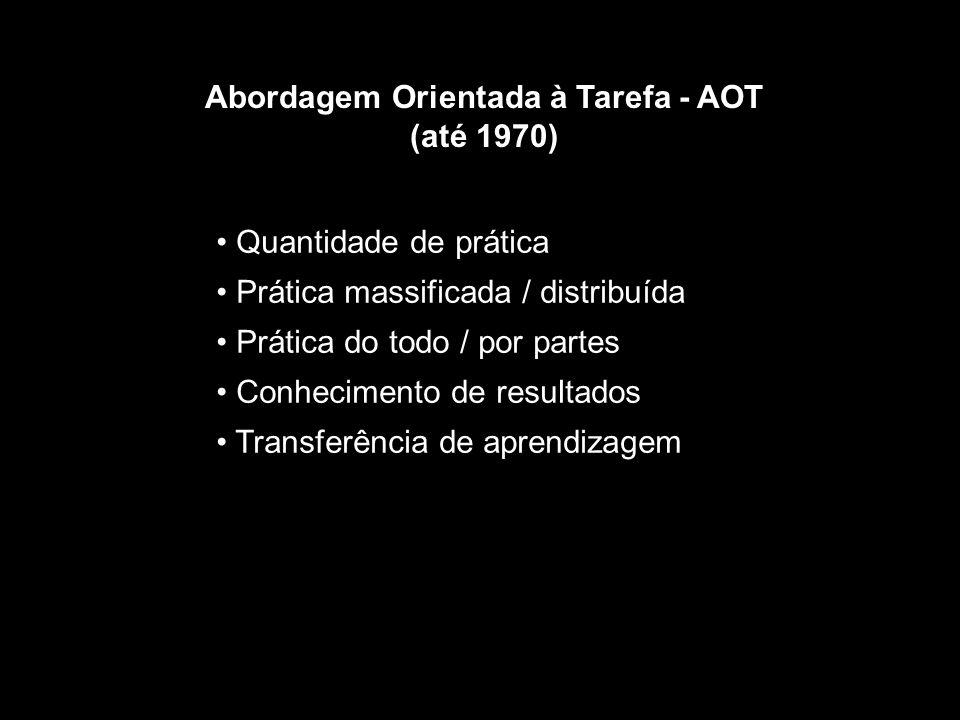 Abordagem Orientada à Tarefa - AOT (até 1970) Quantidade de prática Prática massificada / distribuída Prática do todo / por partes Conhecimento de resultados Transferência de aprendizagem