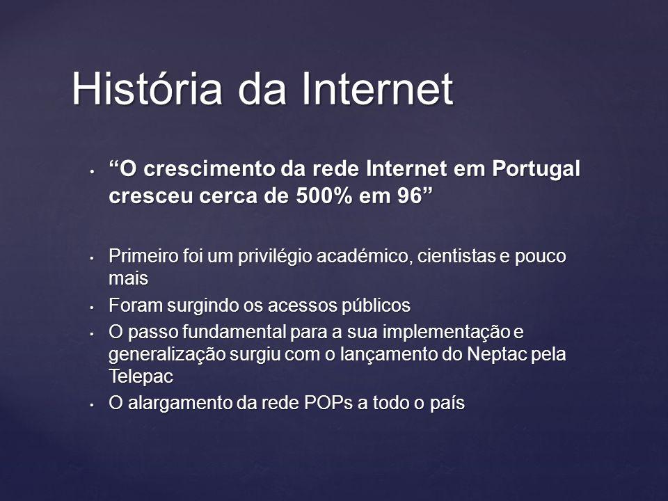 História da Internet O crescimento da rede Internet em Portugal cresceu cerca de 500% em 96 O crescimento da rede Internet em Portugal cresceu cerca de 500% em 96 Primeiro foi um privilégio académico, cientistas e pouco mais Primeiro foi um privilégio académico, cientistas e pouco mais Foram surgindo os acessos públicos Foram surgindo os acessos públicos O passo fundamental para a sua implementação e generalização surgiu com o lançamento do Neptac pela Telepac O passo fundamental para a sua implementação e generalização surgiu com o lançamento do Neptac pela Telepac O alargamento da rede POPs a todo o país O alargamento da rede POPs a todo o país