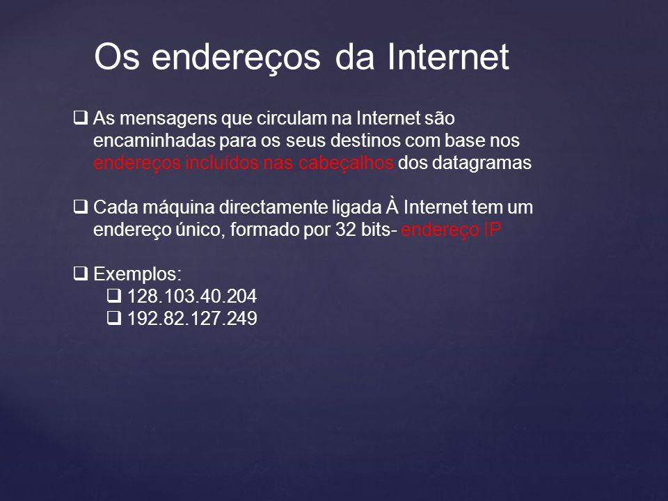 Os endereços da Internet  As mensagens que circulam na Internet são encaminhadas para os seus destinos com base nos endereços incluídos nas cabeçalhos dos datagramas  Cada máquina directamente ligada À Internet tem um endereço único, formado por 32 bits- endereço IP  Exemplos:  128.103.40.204  192.82.127.249
