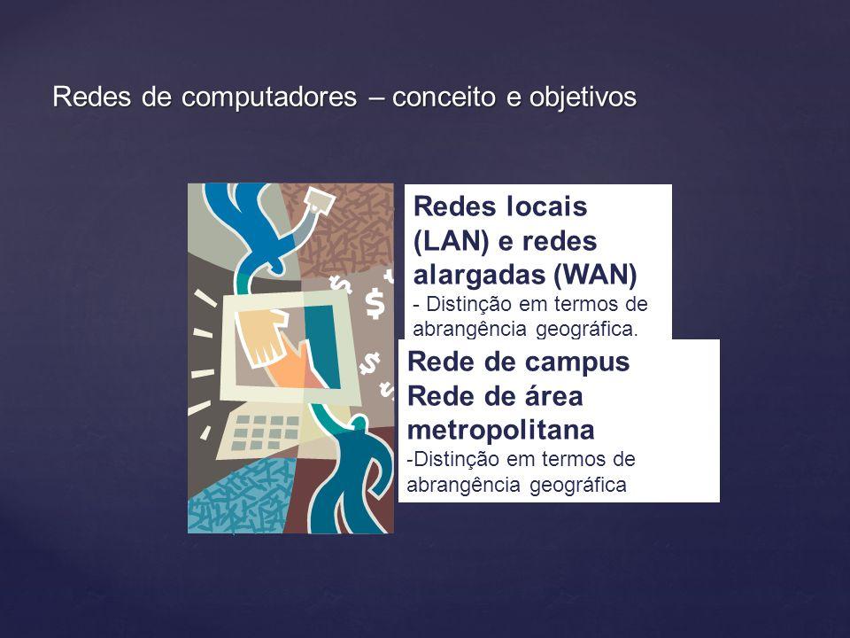 Redes de computadores – conceito e objetivos Redes locais (LAN) e redes alargadas (WAN) - Distinção em termos de abrangência geográfica..
