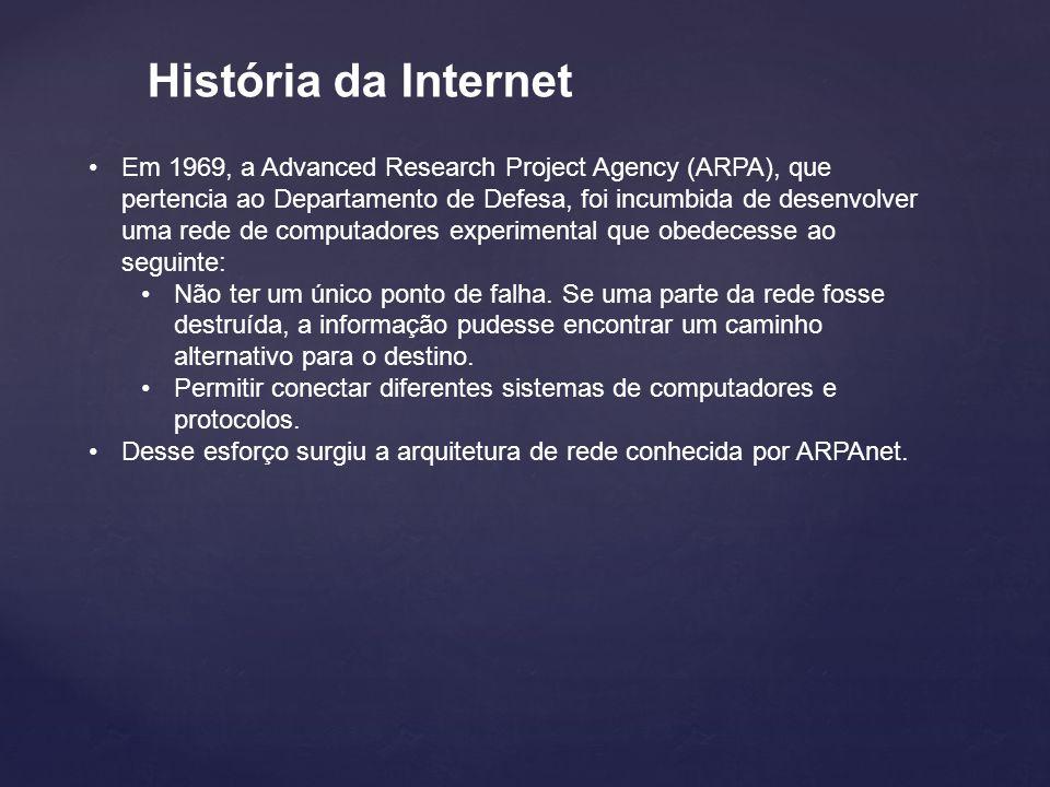 História da Internet Em 1969, a Advanced Research Project Agency (ARPA), que pertencia ao Departamento de Defesa, foi incumbida de desenvolver uma rede de computadores experimental que obedecesse ao seguinte: Não ter um único ponto de falha.