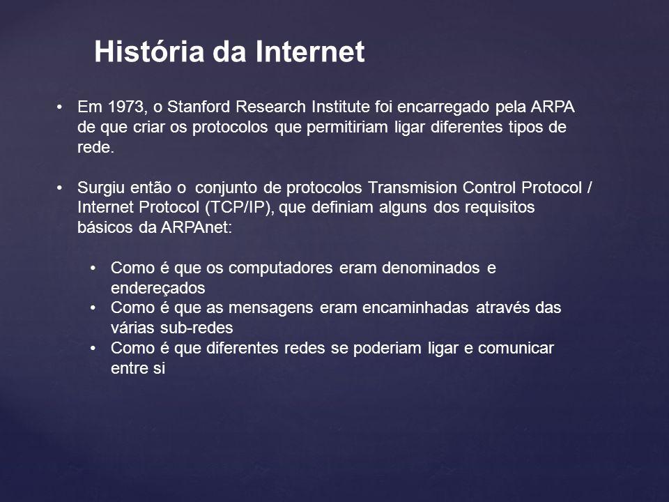 História da Internet Em 1973, o Stanford Research Institute foi encarregado pela ARPA de que criar os protocolos que permitiriam ligar diferentes tipos de rede.