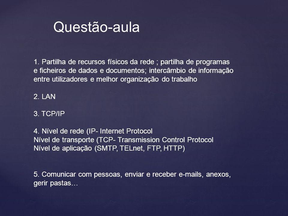 Questão-aula 1. Partilha de recursos físicos da rede ; partilha de programas e ficheiros de dados e documentos; intercâmbio de informação entre utiliz