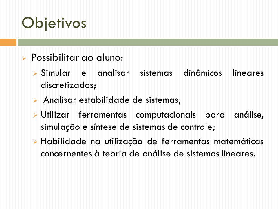 Objetivos  Possibilitar ao aluno:  Simular e analisar sistemas dinâmicos lineares discretizados;  Analisar estabilidade de sistemas;  Utilizar fer