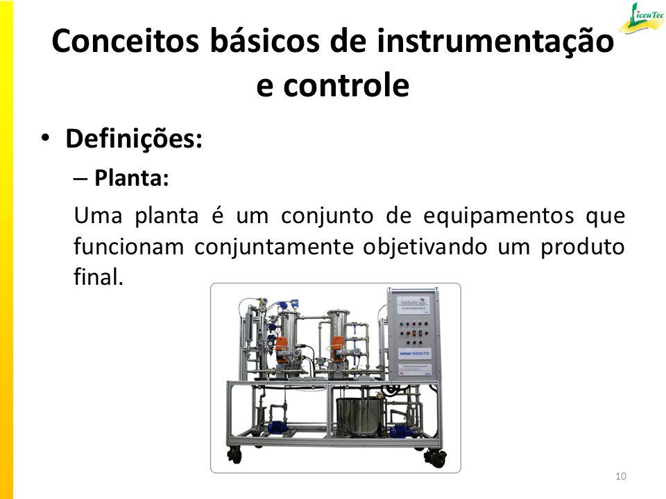 Conceitos básicos de instrumentação e controle Definições: – Planta: Uma planta é um conjunto de equipamentos que funcionam conjuntamente objetivando um produto final.