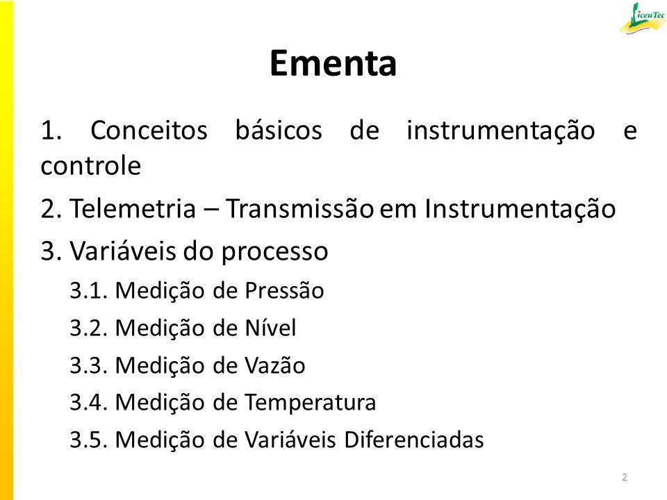 Ementa 1. Conceitos básicos de instrumentação e controle 2. Telemetria – Transmissão em Instrumentação 3. Variáveis do processo 3.1. Medição de Pressã