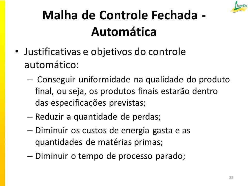 Malha de Controle Fechada - Automática Justificativas e objetivos do controle automático: – Conseguir uniformidade na qualidade do produto final, ou s
