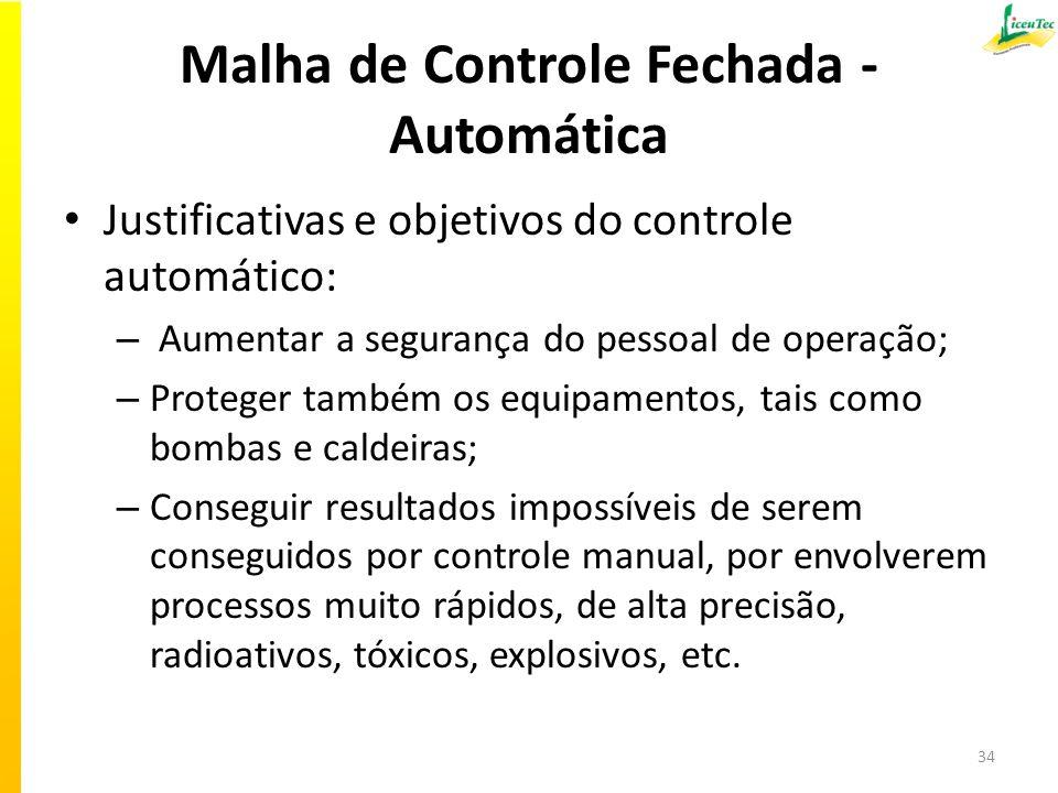 Malha de Controle Fechada - Automática Justificativas e objetivos do controle automático: – Aumentar a segurança do pessoal de operação; – Proteger ta