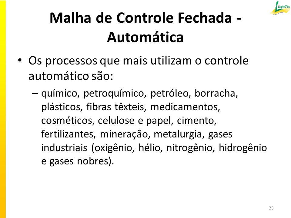 Malha de Controle Fechada - Automática Os processos que mais utilizam o controle automático são: – químico, petroquímico, petróleo, borracha, plástico