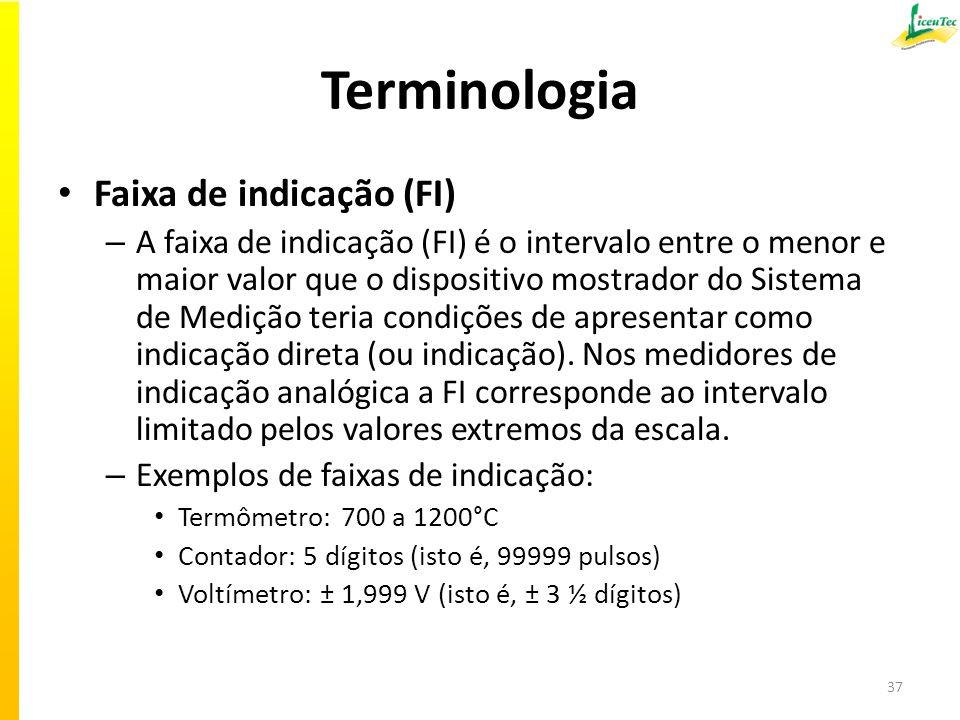 Terminologia Faixa de indicação (FI) – A faixa de indicação (FI) é o intervalo entre o menor e maior valor que o dispositivo mostrador do Sistema de Medição teria condições de apresentar como indicação direta (ou indicação).