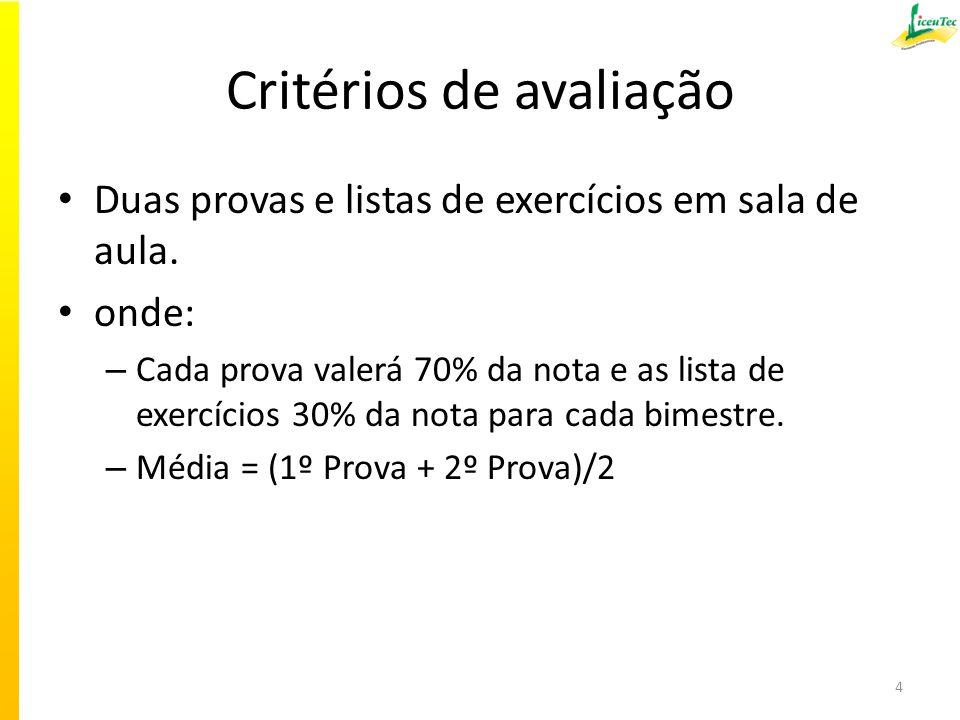 Critérios de avaliação Duas provas e listas de exercícios em sala de aula. onde: – Cada prova valerá 70% da nota e as lista de exercícios 30% da nota