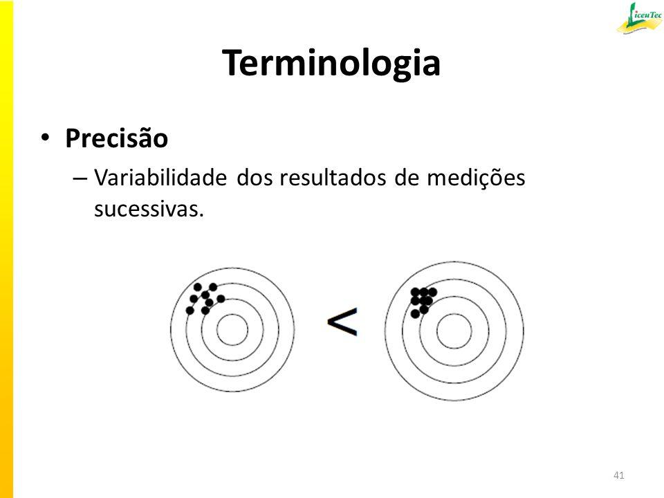 Terminologia Precisão – Variabilidade dos resultados de medições sucessivas. 41