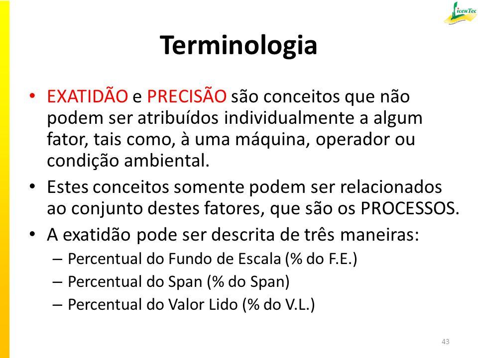 Terminologia EXATIDÃO e PRECISÃO são conceitos que não podem ser atribuídos individualmente a algum fator, tais como, à uma máquina, operador ou condi