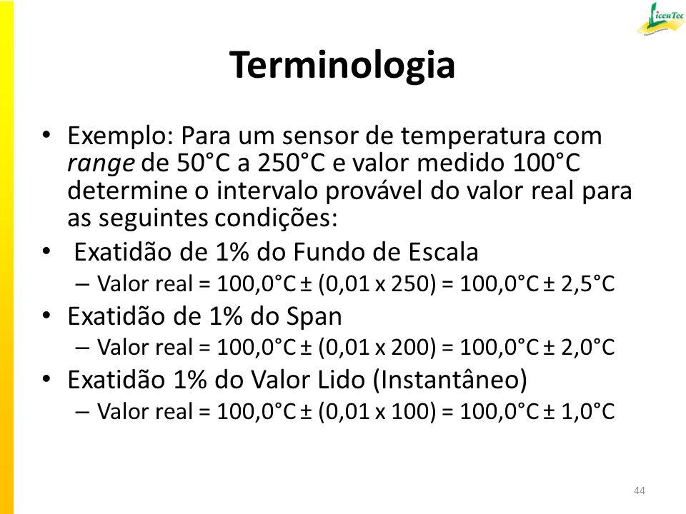 Terminologia Exemplo: Para um sensor de temperatura com range de 50°C a 250°C e valor medido 100°C determine o intervalo provável do valor real para as seguintes condições: Exatidão de 1% do Fundo de Escala – Valor real = 100,0°C ± (0,01 x 250) = 100,0°C ± 2,5°C Exatidão de 1% do Span – Valor real = 100,0°C ± (0,01 x 200) = 100,0°C ± 2,0°C Exatidão 1% do Valor Lido (Instantâneo) – Valor real = 100,0°C ± (0,01 x 100) = 100,0°C ± 1,0°C 44