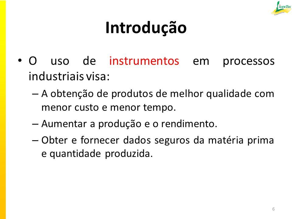 Introdução O uso de instrumentos em processos industriais visa: – A obtenção de produtos de melhor qualidade com menor custo e menor tempo. – Aumentar