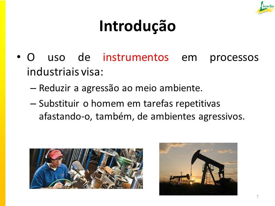 Introdução O uso de instrumentos em processos industriais visa: – Reduzir a agressão ao meio ambiente.