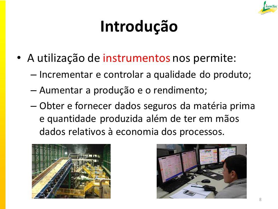 Introdução A utilização de instrumentos nos permite: – Incrementar e controlar a qualidade do produto; – Aumentar a produção e o rendimento; – Obter e