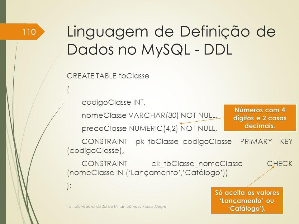 Linguagem de Definição de Dados no MySQL - DDL CREATE TABLE tbClasse ( codigoClasse INT, nomeClasse VARCHAR(30) NOT NULL, precoClasse NUMERIC(4,2) NOT