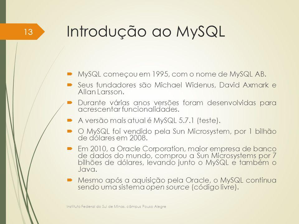 Introdução ao MySQL  MySQL começou em 1995, com o nome de MySQL AB.  Seus fundadores são Michael Widenus, David Axmark e Allan Larsson.  Durante vá