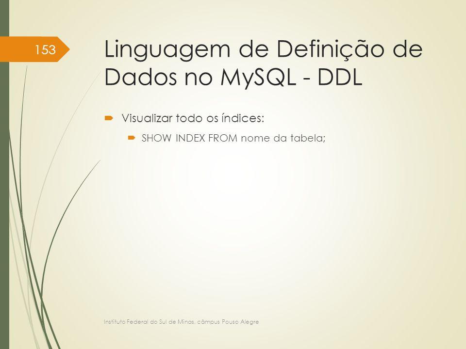 Linguagem de Definição de Dados no MySQL - DDL  Visualizar todo os índices:  SHOW INDEX FROM nome da tabela; Instituto Federal do Sul de Minas, câmp