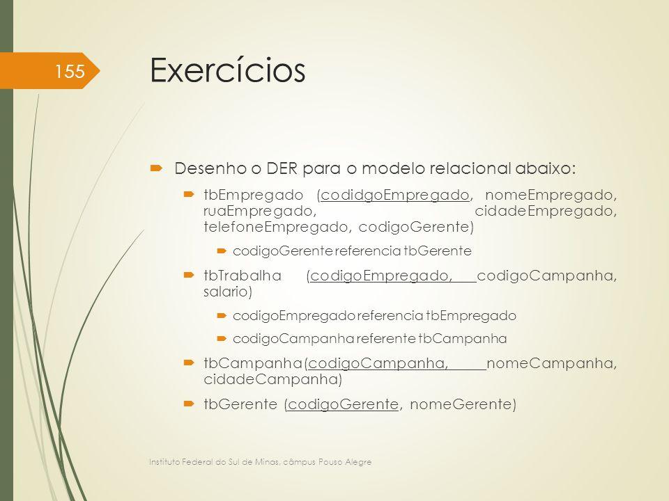 Exercícios  Desenho o DER para o modelo relacional abaixo:  tbEmpregado (codidgoEmpregado, nomeEmpregado, ruaEmpregado, cidadeEmpregado, telefoneEmp