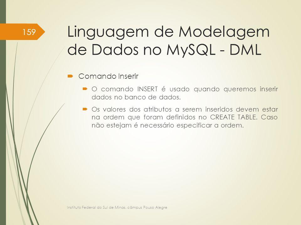 Linguagem de Modelagem de Dados no MySQL - DML  Comando Inserir  O comando INSERT é usado quando queremos inserir dados no banco de dados.  Os valo