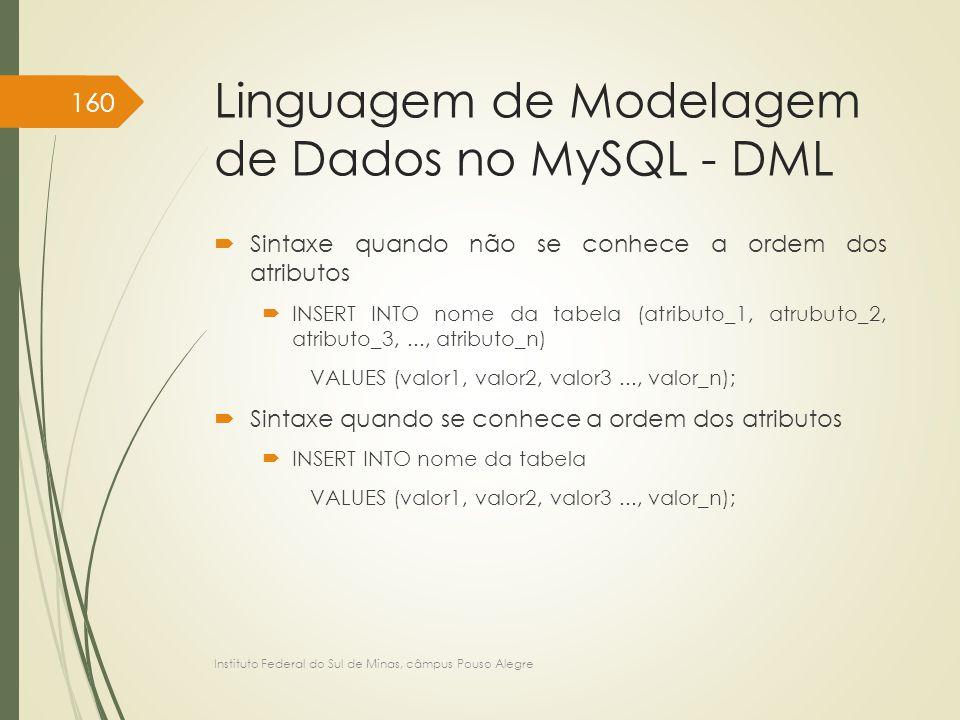 Linguagem de Modelagem de Dados no MySQL - DML  Sintaxe quando não se conhece a ordem dos atributos  INSERT INTO nome da tabela (atributo_1, atrubut