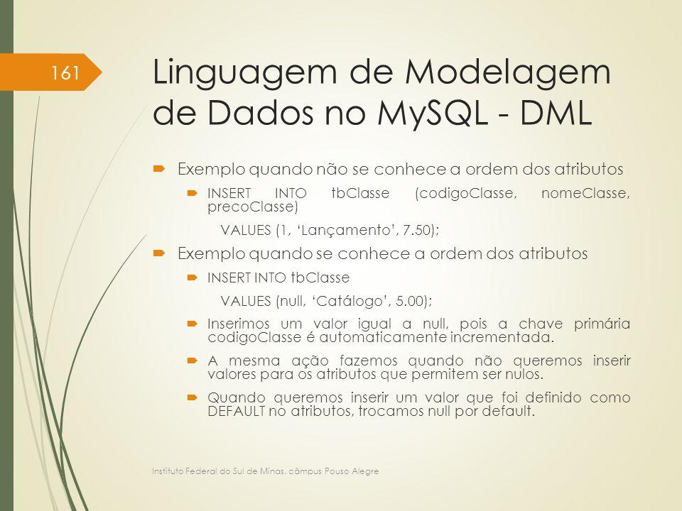 Linguagem de Modelagem de Dados no MySQL - DML  Exemplo quando não se conhece a ordem dos atributos  INSERT INTO tbClasse (codigoClasse, nomeClasse,