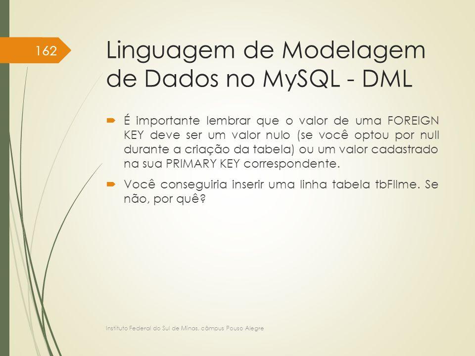 Linguagem de Modelagem de Dados no MySQL - DML  É importante lembrar que o valor de uma FOREIGN KEY deve ser um valor nulo (se você optou por null du