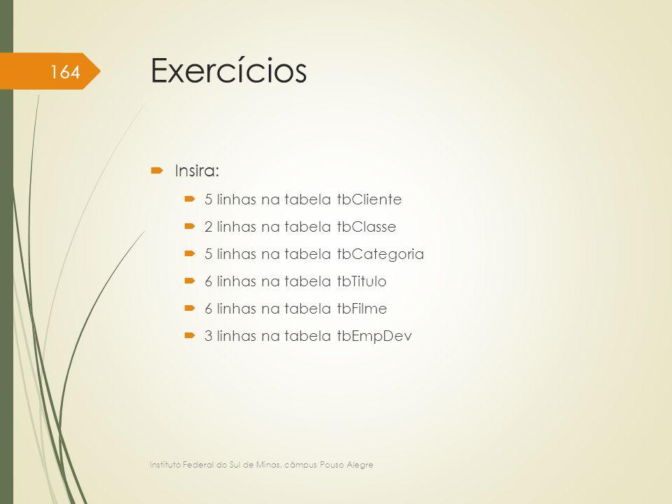 Exercícios  Insira:  5 linhas na tabela tbCliente  2 linhas na tabela tbClasse  5 linhas na tabela tbCategoria  6 linhas na tabela tbTitulo  6 l