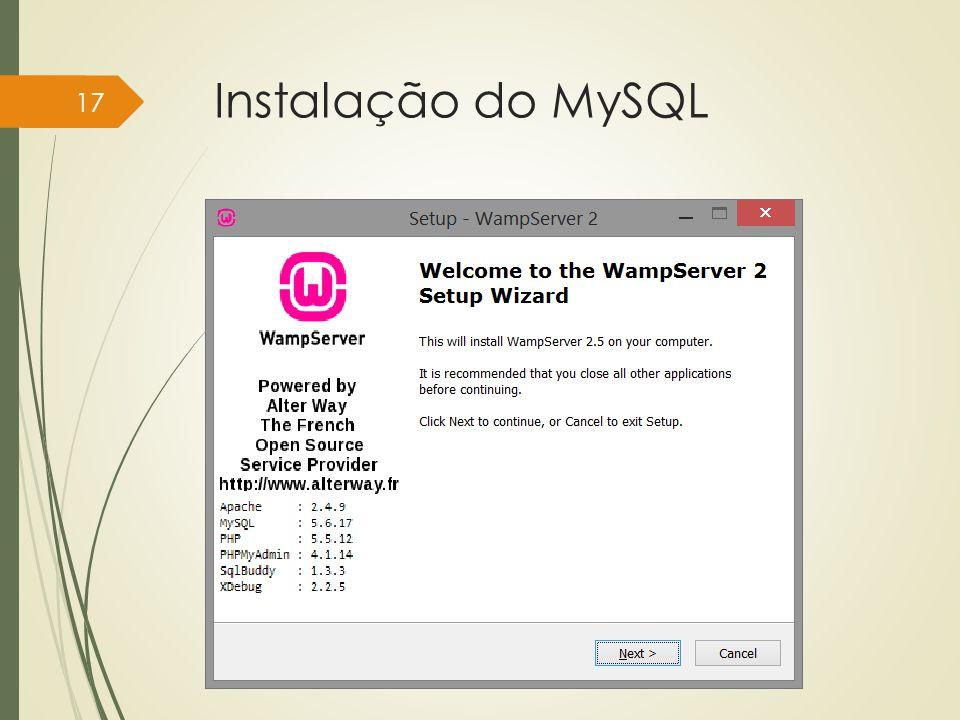 Instalação do MySQL Instituto Federal do Sul de Minas, câmpus Pouso Alegre 17