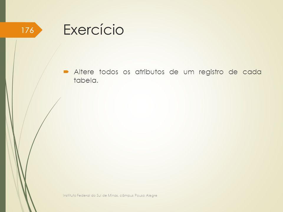 Exercício  Altere todos os atributos de um registro de cada tabela. Instituto Federal do Sul de Minas, câmpus Pouso Alegre 176