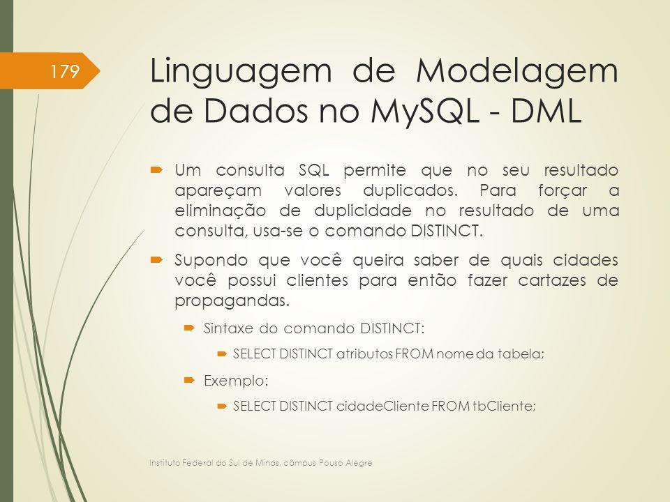 Linguagem de Modelagem de Dados no MySQL - DML  Um consulta SQL permite que no seu resultado apareçam valores duplicados. Para forçar a eliminação de