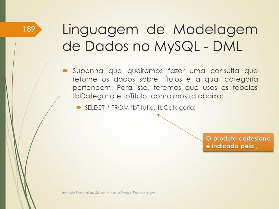 Linguagem de Modelagem de Dados no MySQL - DML  Suponha que queiramos fazer uma consulta que retorne os dados sobre títulos e a qual categoria perten