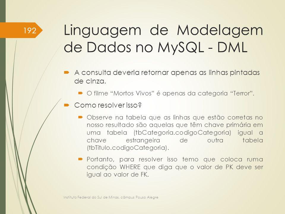 """Linguagem de Modelagem de Dados no MySQL - DML  A consulta deveria retornar apenas as linhas pintadas de cinza.  O filme """"Mortos Vivos"""" é apenas da"""