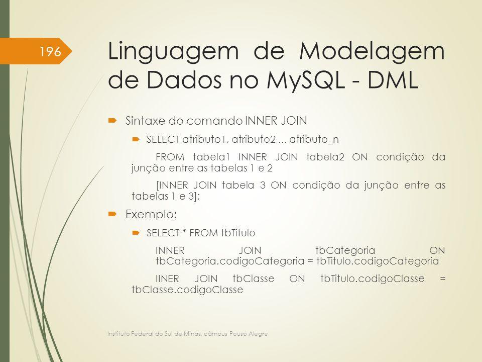Linguagem de Modelagem de Dados no MySQL - DML  Sintaxe do comando INNER JOIN  SELECT atributo1, atributo2... atributo_n FROM tabela1 INNER JOIN tab