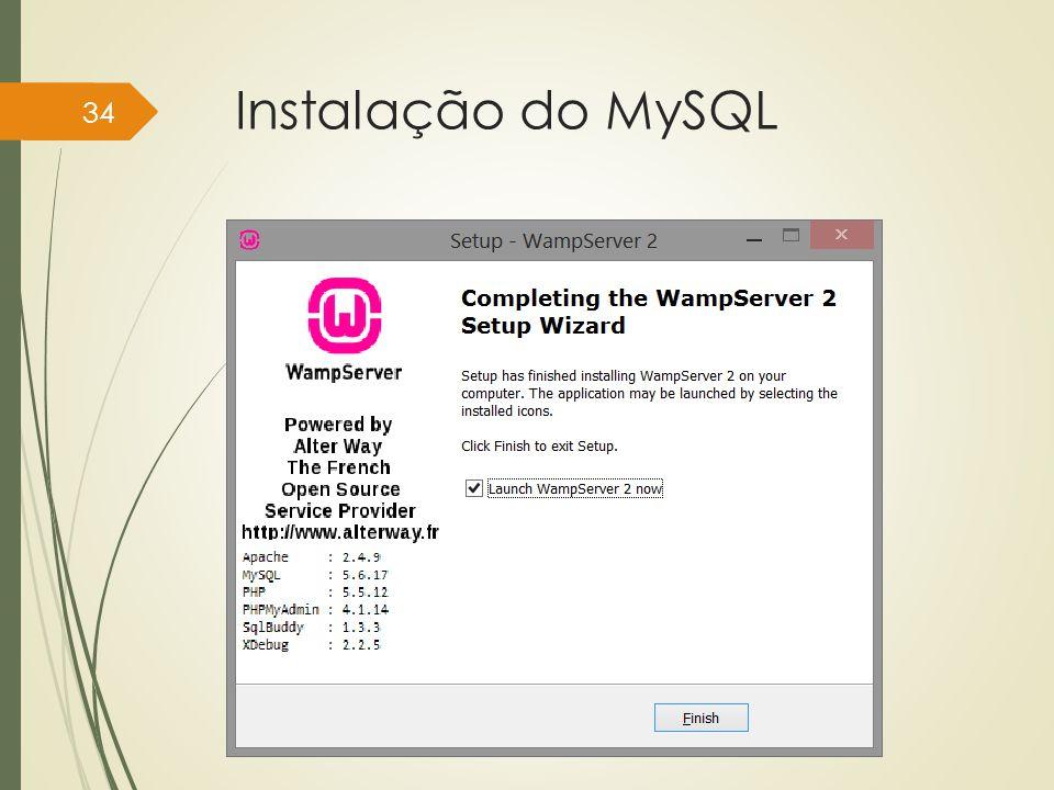Instalação do MySQL Instituto Federal do Sul de Minas, câmpus Pouso Alegre 34