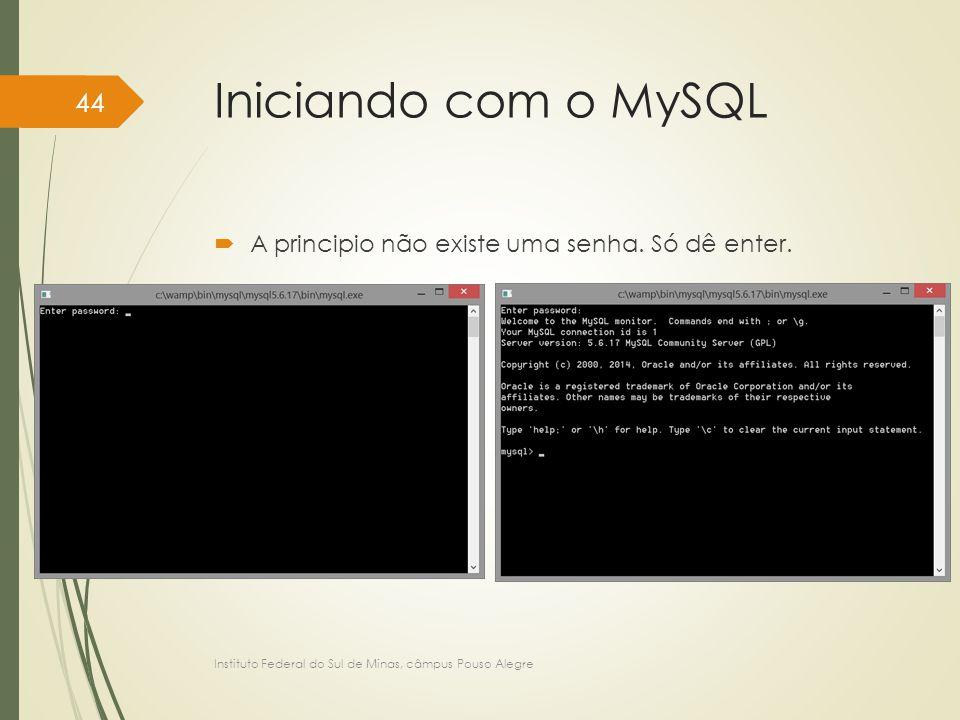 Iniciando com o MySQL  A principio não existe uma senha. Só dê enter. Instituto Federal do Sul de Minas, câmpus Pouso Alegre 44