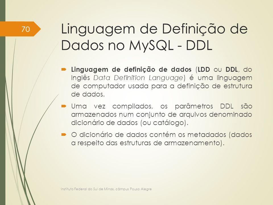 Linguagem de Definição de Dados no MySQL - DDL  Linguagem de definição de dados ( LDD ou DDL, do Inglês Data Definition Language) é uma linguagem de