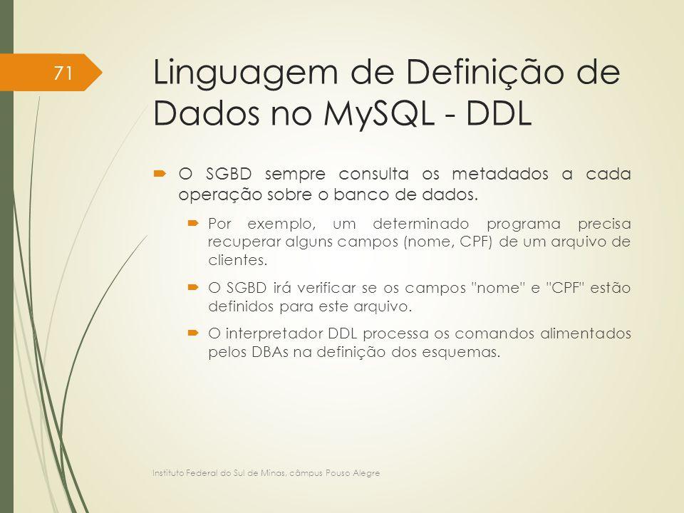 Linguagem de Definição de Dados no MySQL - DDL  O SGBD sempre consulta os metadados a cada operação sobre o banco de dados.  Por exemplo, um determi