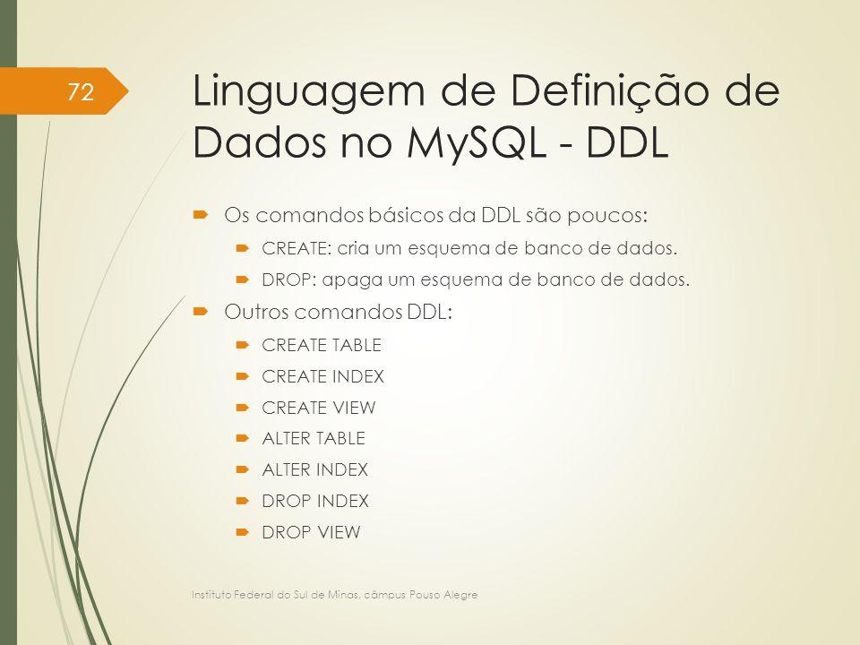 Linguagem de Definição de Dados no MySQL - DDL  Os comandos básicos da DDL são poucos:  CREATE: cria um esquema de banco de dados.  DROP: apaga um