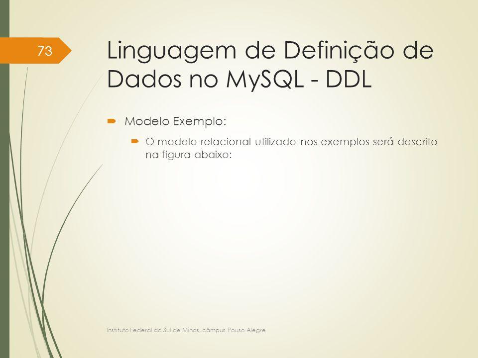 Linguagem de Definição de Dados no MySQL - DDL  Modelo Exemplo:  O modelo relacional utilizado nos exemplos será descrito na figura abaixo: Institut