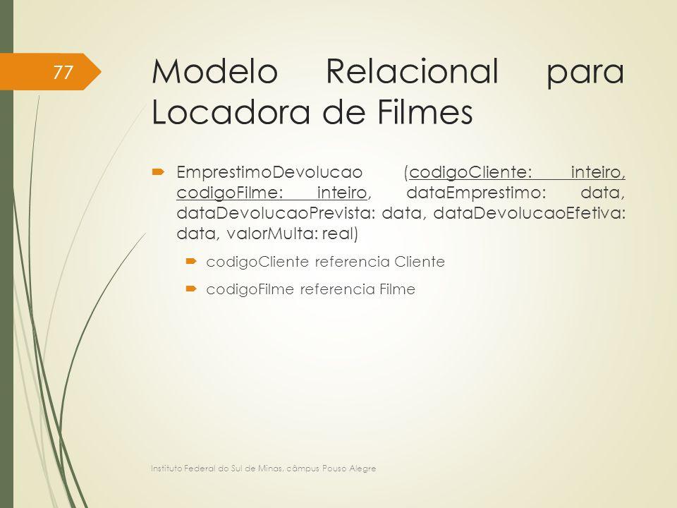 Modelo Relacional para Locadora de Filmes  EmprestimoDevolucao (codigoCliente: inteiro, codigoFilme: inteiro, dataEmprestimo: data, dataDevolucaoPrev