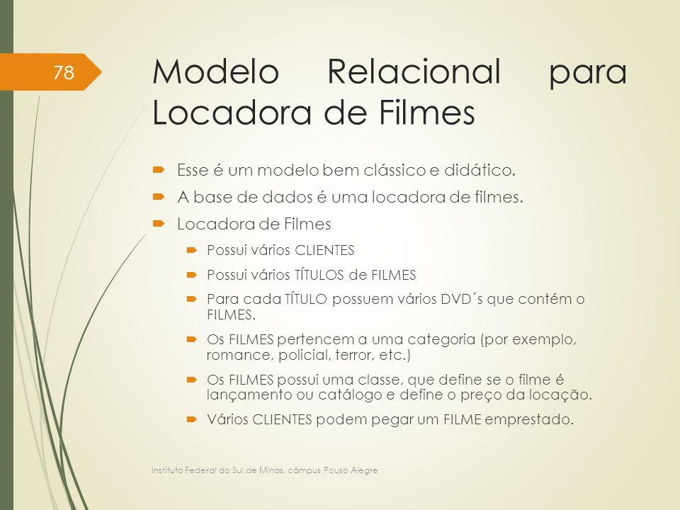 Modelo Relacional para Locadora de Filmes  Esse é um modelo bem clássico e didático.  A base de dados é uma locadora de filmes.  Locadora de Filmes
