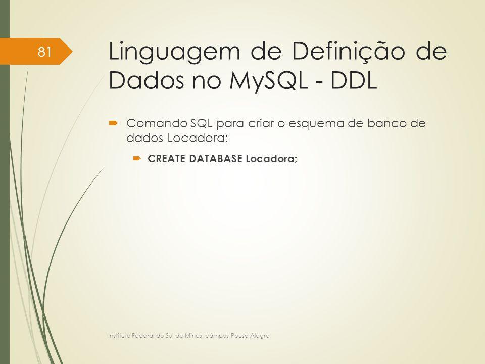 Linguagem de Definição de Dados no MySQL - DDL  Comando SQL para criar o esquema de banco de dados Locadora:  CREATE DATABASE Locadora; Instituto Fe