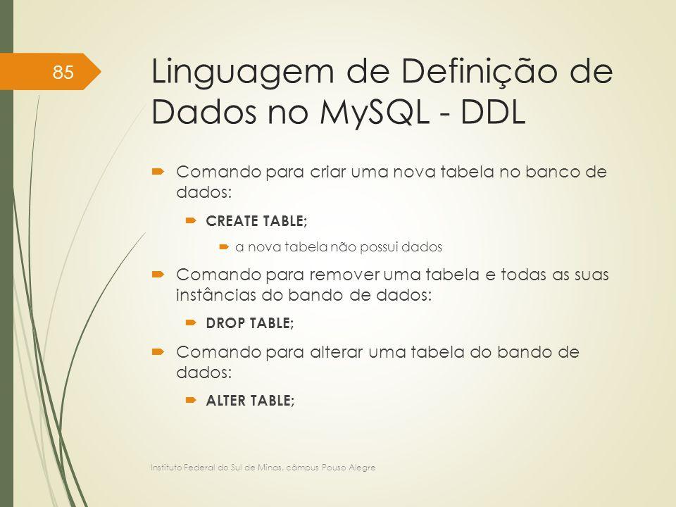 Linguagem de Definição de Dados no MySQL - DDL  Comando para criar uma nova tabela no banco de dados:  CREATE TABLE;  a nova tabela não possui dado
