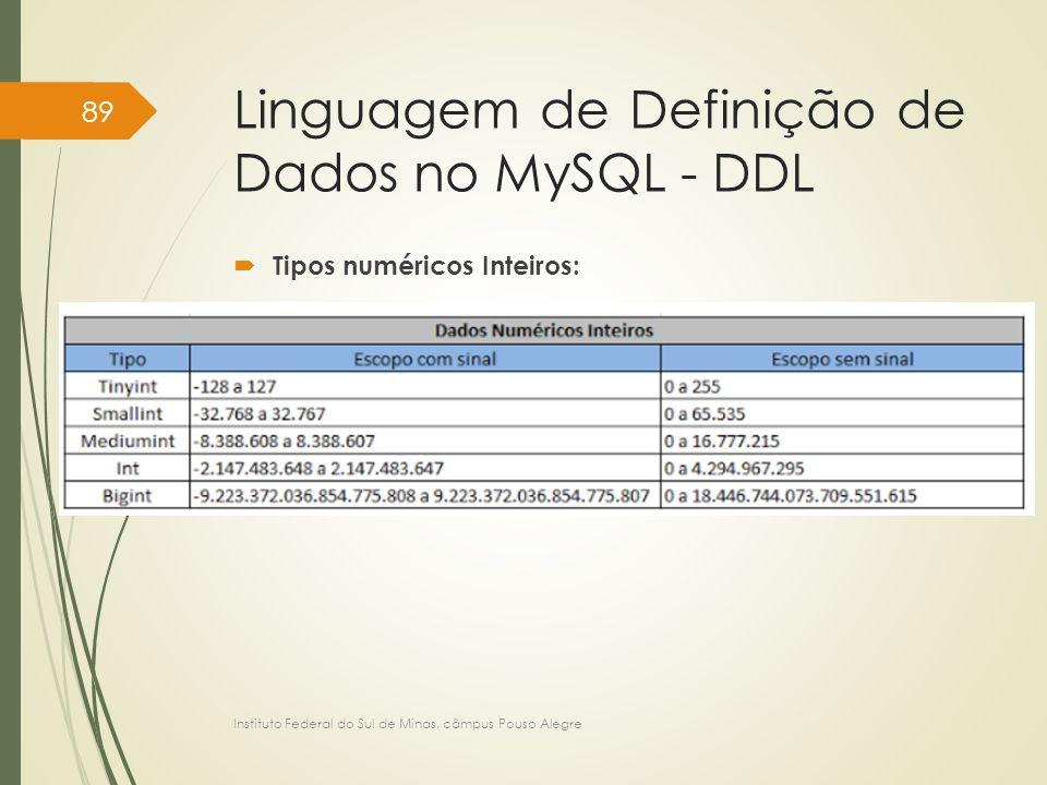 Linguagem de Definição de Dados no MySQL - DDL  Tipos numéricos Inteiros: Instituto Federal do Sul de Minas, câmpus Pouso Alegre 89