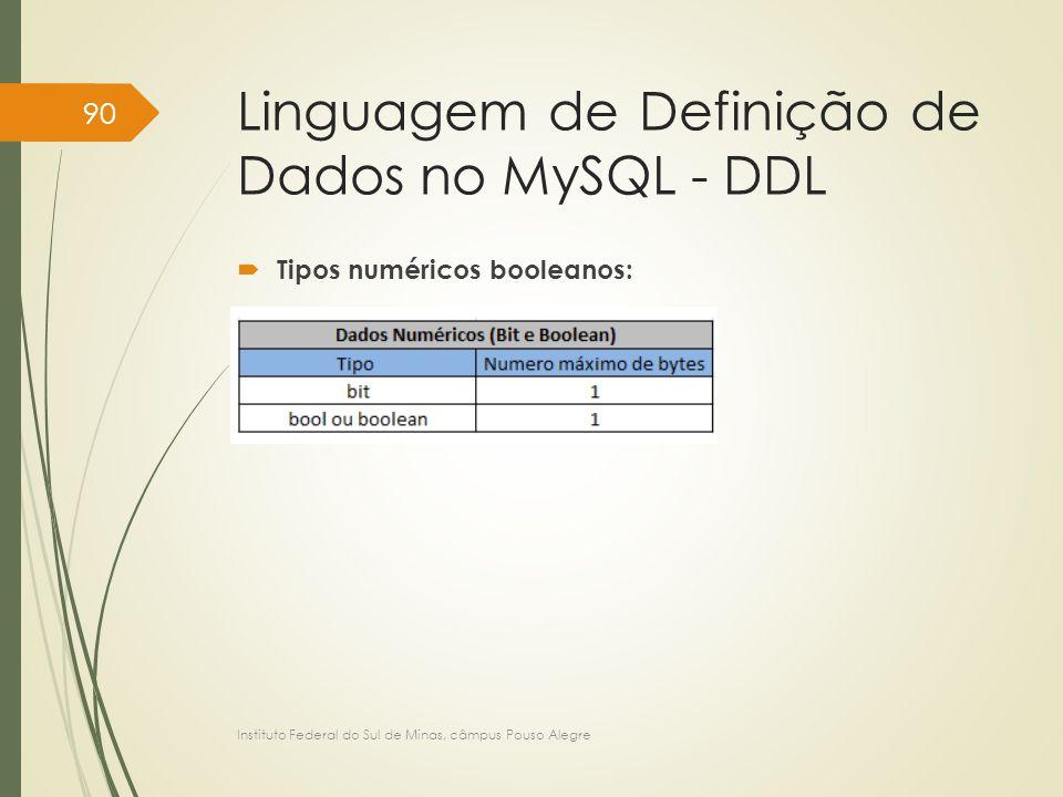 Linguagem de Definição de Dados no MySQL - DDL  Tipos numéricos booleanos: Instituto Federal do Sul de Minas, câmpus Pouso Alegre 90