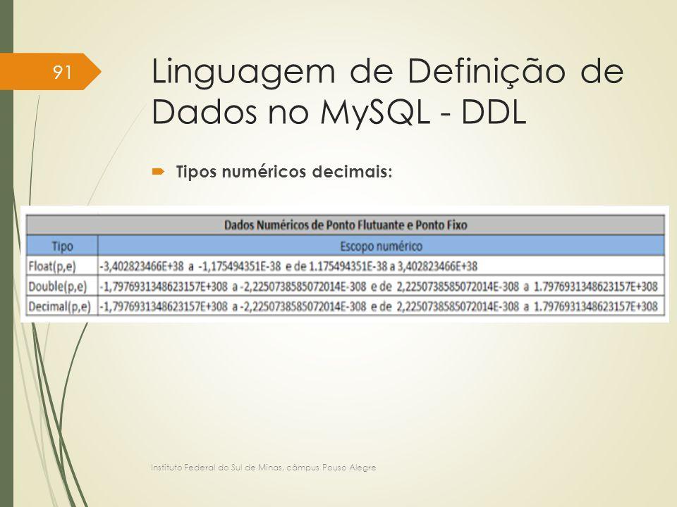 Linguagem de Definição de Dados no MySQL - DDL  Tipos numéricos decimais: Instituto Federal do Sul de Minas, câmpus Pouso Alegre 91