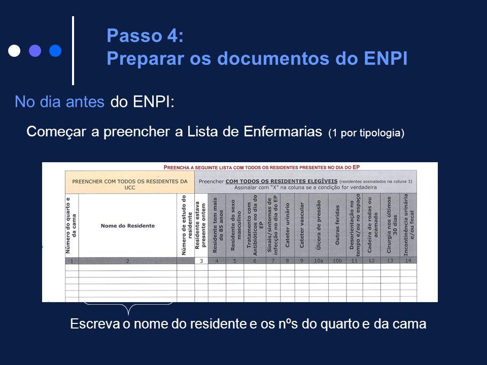 No dia antes do ENPI: Começar a preencher a Lista de Enfermarias (1 por tipologia) Passo 4: Preparar os documentos do ENPI Escreva o nome do residente